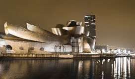 BILBAO, SPAIN - APRIL 02. Nightview of the Guggenheim Museum of Contemporary Art, in Bilbao, Spain, on April 02, 2012. The Guggenheim museum was designed by Royalty Free Stock Photo