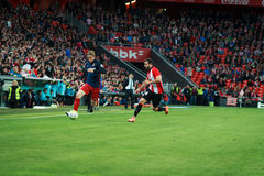 BILBAO, SPAIN - APRIL 20: Fernando Torres and Mikel Balenziaga in the match between Athletic Bilbao and Athletico de Madrid, celeb Royalty Free Stock Photos