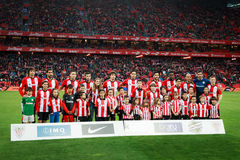 BILBAO, SPAIN - ARPIL 10: Athletic Club de Bilbao poses for the press in the match between Athletic Bilbao and Rayo Vallecano, cel. Ebrated on April 10, 2016 in Stock Photos