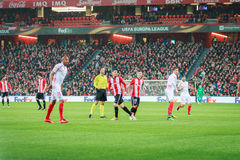 BILBAO, SPAIN - ARPIL 7: Iker Muniain and Aritz Aduriz in the match between Athletic Bilbao and Sevilla in the quarterfinals of th. E UEFA Europa League Stock Photo