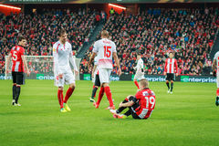 BILBAO, SPAIN - ARPIL 7: Iker Muniain, Grzegorz Krychowiak and Steven Nzonzi in the match between Athletic Bilbao and Sevilla in t. He UEFA Europa League Stock Photography