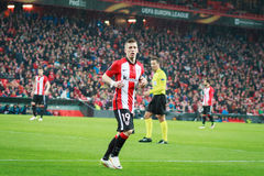 BILBAO, SPAIN - ARPIL 7: Iker Muniain in the match between Athletic Bilbao and Sevilla in the UEFA Europa League, celebrated on Ap. Ril 7, 2016 in Bilbao, Spain Royalty Free Stock Photo