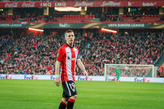 BILBAO, SPAIN - ARPIL 7: Iker Muniain in the match between Athletic Bilbao and Sevilla in the UEFA Europa League, celebrated on Ap Stock Photo