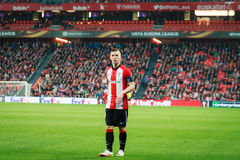 BILBAO, SPAIN - ARPIL 7: Iker Muniain in the match between Athletic Bilbao and Sevilla in the UEFA Europa League, celebrated on Ap. Ril 7, 2016 in Bilbao, Spain Stock Photography