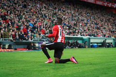BILBAO, SPAIN - ARPIL 10: Inaki Williams in the match between Athletic Bilbao and Rayo Vallecano, celebrated on April 10, 2016 in Stock Photos