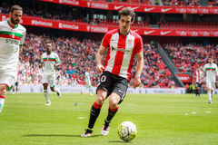 BILBAO, SPAIN - ARPIL 3: Inigo Lekue of the Athletic Club Bilbao in the match between Athletic Bilbao and Granada, celebrated on A Stock Image