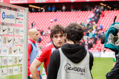 BILBAO, SPAIN - ARPIL 3: Inigo Lekue of Athletic Club Bilbao in a sports interview after the a Spanish League match against Granad Royalty Free Stock Image