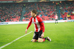 BILBAO, SPAIN - ARPIL 7: Oscar de Marcos in the match between Athletic Bilbao and Sevilla in the UEFA Europa League, celebrated on Stock Photography