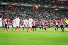 BILBAO, SPAIN - ARPIL 7: Players from both teams in a corner in the match between Athletic Bilbao and Sevilla in the UEFA Europa L. Eague, celebrated on April 7 Stock Image