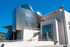 BILBAO, SPAIN - AUGUST 9: Exterior view of the Guggenheim Museum. At sunset on Bilbao, Spain. 2013.This Museum is dedicated exhibition of modern art Stock Image