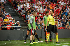 BILBAO, SPAIN - AUGUST 28: Iker Muniain, Athletic Club Bilbao player, in the heating in the match between Athletic Bilbao and FC B Royalty Free Stock Photos
