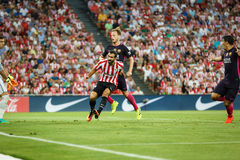 BILBAO, SPAIN - AUGUST 28: Ivan Rakitic of FC Barcelona, and Mikel Balenziaga of Ahtletic Bilbao, in action during the Spanish Lea Stock Photos