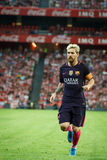 BILBAO, SPAIN - AUGUST 28: Lionel Messi, FC Barcelona player, in action during a Spanish League match between Athletic Bilbao and. FC Barcelona, celebrated on royalty free stock photos
