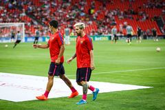 BILBAO, SPAIN - AUGUST 28: Lionel Messi and Luis Suarez in the heating of the match between Athletic Bilbao and FC Barcelona, cele Royalty Free Stock Photography
