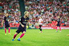 BILBAO, SPAIN - AUGUST 28: Lionel Messi in the the match between Athletic Bilbao and FC Barcelona, celebrated on August 28, 2016 i. N Bilbao, Spain stock photo