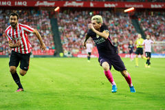BILBAO, SPAIN - AUGUST 28: Lionel Messi and Mikel Balenziaga, in the the match between Athletic Bilbao and FC Barcelona, celebrate Stock Photo