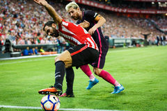 BILBAO, SPAIN - AUGUST 28: Lionel Messi and Mikel Balenziaga, in the the match between Athletic Bilbao and FC Barcelona, celebrate Royalty Free Stock Photo