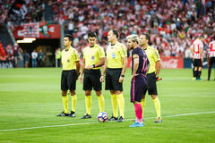 BILBAO, SPAIN - AUGUST 28: Lionel Messi with the referees after the match between Athletic Bilbao and FC Barcelona, celebrated on. August 28, 2016 in Bilbao Stock Photo