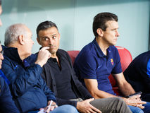 BILBAO, SPAIN - AUGUST 28: Luis Enrique and Juan Carlos Unzue, the coaching staff, in the match between Athletic Bilbao and FC Bar Royalty Free Stock Photography