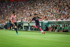 BILBAO, SPAIN - AUGUST 28: Luis Suarez and Eneko Boveda in action during a Spanish League match between Athletic Bilbao and FC Bar Stock Images