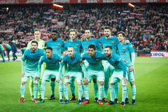 BILBAO, SPAIN - JANUARY 05: Barcelona players pose for the press in the eighth-finals Spanish Cup match between Athletic Bilbao an Royalty Free Stock Photography