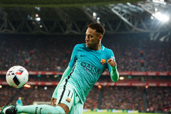 BILBAO, SPAIN - JANUARY 05: Neymar, Barcelona player, in action during the eighth-finals Spanish Cup match between Athletic Bilbao. And FC Barcelona, celebrated royalty free stock image