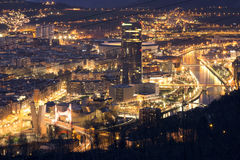 BILBAO, SPAIN, JANUARY 30, 2016: View of the illuminated city of Bilbao. With Nervion river, Salve bridge, San Mames football stadium, Iberdrola tower and Royalty Free Stock Photos