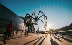 Maman - is a bronze, stainless steel, and marble sculpture on th. Bilbao, Spain - JULY 11, 2017: Maman - is a bronze, stainless steel, and marble sculpture on Royalty Free Stock Photography