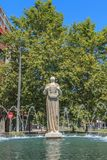 Statue of Melpomene in Greek mythology the muse of singing. Bilbao, Spain - July 19, 2016 : statue of Melpomene, in Greek mythology the muse of singing, carved Stock Photo