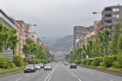 Houses and highway in Bilbao Spain stock images