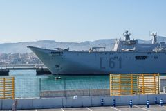BILBAO, SPAIN - MARCH / 23/2019. The aircraft carrier of the Spanish Navy Juan Carlos I in the port of Bilbao, open day to visit royalty free stock image
