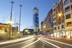 The Iberdrola tower at sunset. BILBAO, SPAIN - MARCH 24, 2017: The Iberdrola tower at sunset. It`s the highest building on the Basque country, Spain. Photo Royalty Free Stock Images