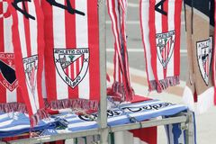 Athletic Club soccer team emblem, embroidered on some scarves. Royalty Free Stock Images