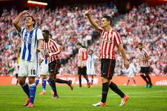BILBAO, SPAIN - OCTOBER 16: Aritz Aduriz and Mikel Oyarzabal, in the match between Athletic Bilbao and Real Sociedad, celebrated o Royalty Free Stock Photography