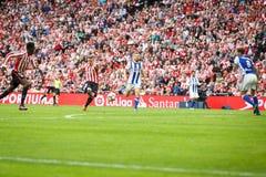 BILBAO, SPAIN - OCTOBER 16: Iker Muniain, Inaki Williams and Asier Illarramendi, in the match between Athletic Bilbao and Real Soc Stock Photos