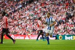 BILBAO, SPAIN - OCTOBER 16: Inigo Martinez, Real Sociedad player, in the match between Athletic Bilbao and Real Sociedad, celebrat. Ed on October 16, 2016 in Stock Photos
