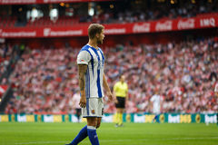 BILBAO, SPAIN - OCTOBER 16: Inigo Martinez, Real Sociedad player, in the match between Athletic Bilbao and Real Sociedad, celebrat Royalty Free Stock Photography