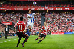 BILBAO, SPAIN - OCTOBER 16: Mikel Oyarzabal and Inaki Williams, in action during a Spanish League match between Athletic Bilbao an Stock Image