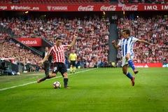 BILBAO, SPAIN - OCTOBER 16: Oscar de Marcos and Mikel Oyarzabal, during a Spanish League match between Athletic Bilbao and Real So Stock Photos