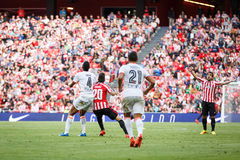 BILBAO, SPAIN - SEPTEMBER 18: Aderlan Santos and Aritz Aduriz, in the match between Athletic Bilbao and Valencia CF, celebrated on Stock Image