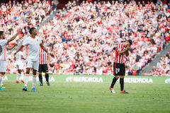BILBAO, SPAIN - SEPTEMBER 18: Aderlan Santos and Aritz Aduriz, in the match between Athletic Bilbao and Valencia CF, celebrated on Stock Photography