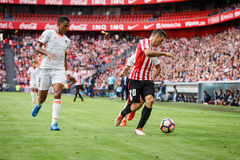 BILBAO, SPAIN - SEPTEMBER 18: Aderlan Santos and Aritz Aduriz, in the match between Athletic Bilbao and Valencia CF, celebrated on Stock Images