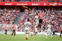BILBAO, SPAIN - SEPTEMBER 18: Aritz Aduriz and Aderlan Santos, in the match between Athletic Bilbao and Valencia CF, celebrated on Stock Photos