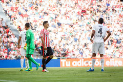 BILBAO, SPAIN - SEPTEMBER 18: Aritz Aduriz, Athletic Bilbao player, in the match between Athletic Bilbao and Valencia CF, celebrat Royalty Free Stock Images