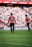 BILBAO, SPAIN - SEPTEMBER 18: Aritz Aduriz, Athletic Bilbao player, in the match between Athletic Bilbao and Valencia CF, celebrat Stock Photos