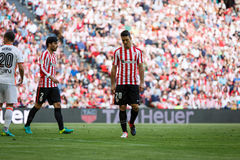 BILBAO, SPAIN - SEPTEMBER 18: Aritz Aduriz, Athletic Bilbao player, in the match between Athletic Bilbao and Valencia CF, celebrat Stock Image