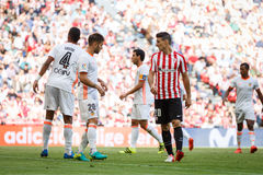 BILBAO, SPAIN - SEPTEMBER 18: Aritz Aduriz, Athletic Bilbao player, in the match between Athletic Bilbao and Valencia CF, celebrat Royalty Free Stock Image