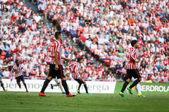 BILBAO, SPAIN - SEPTEMBER 18: Aritz Aduriz, Athletic Club Bilbao player, in the match between Athletic Bilbao and Valencia CF, cel Royalty Free Stock Images