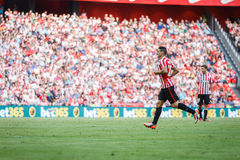 BILBAO, SPAIN - SEPTEMBER 18: Aritz Aduriz, Athletic Club Bilbao player, in the match between Athletic Bilbao and Valencia CF, cel Stock Photo