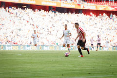 BILBAO, SPAIN - SEPTEMBER 18: Aritz Aduriz, Athletic Club Bilbao player, in the match between Athletic Bilbao and Valencia CF, cel Royalty Free Stock Photography